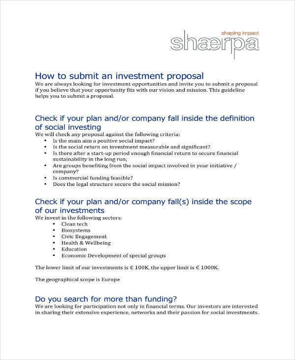 small business investment proposal guidelines
