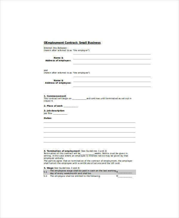small business employement contract