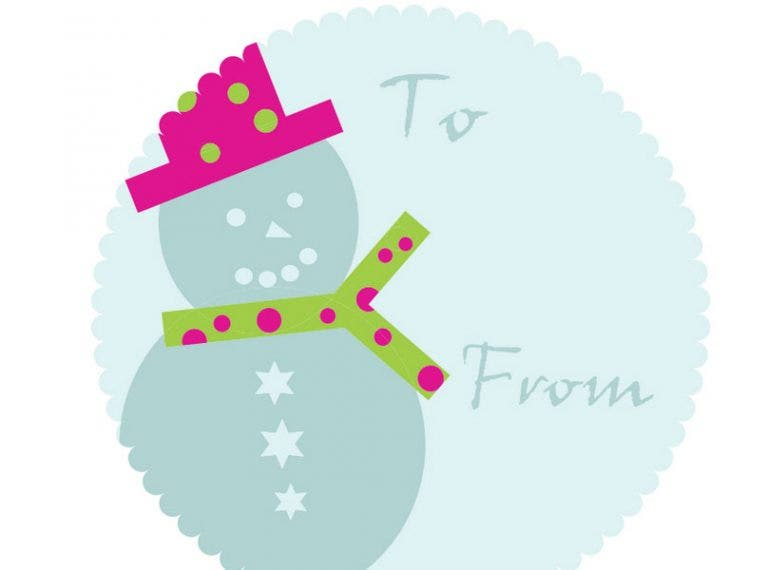 snowman gift tag template