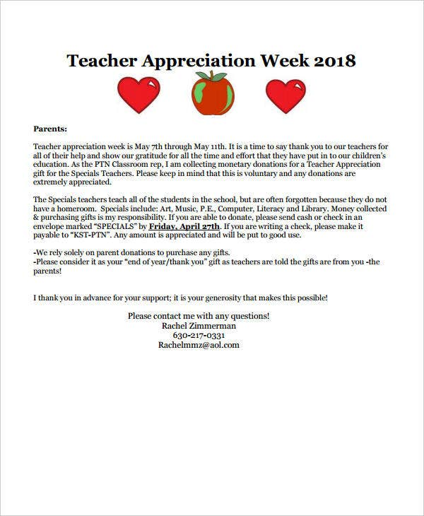special teacher appreciation letter