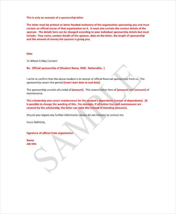 Sponsor Scholarship Example letter