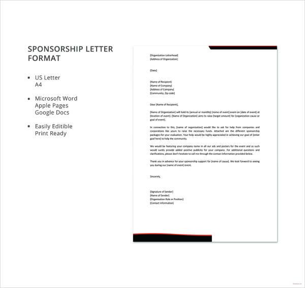 45 sponsorship letter templates pdf doc free premium templates altavistaventures Images