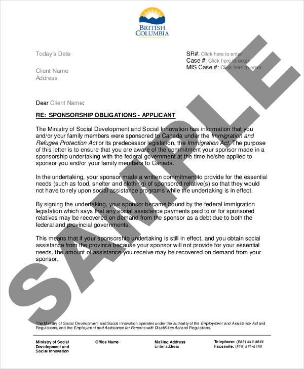 sponsorship obligations letter
