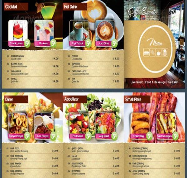 Square Cafe Restaurant Menu Sample