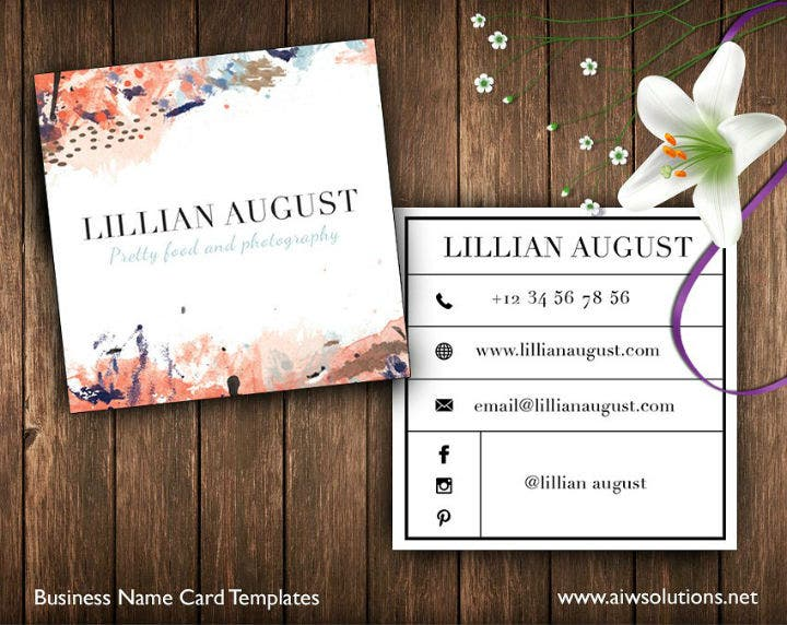 square watercolor business card template