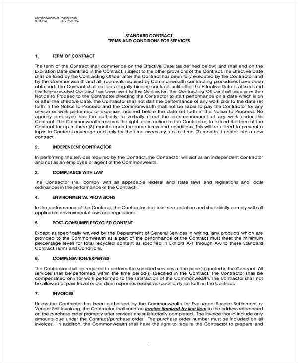 Standard Business Contract Template
