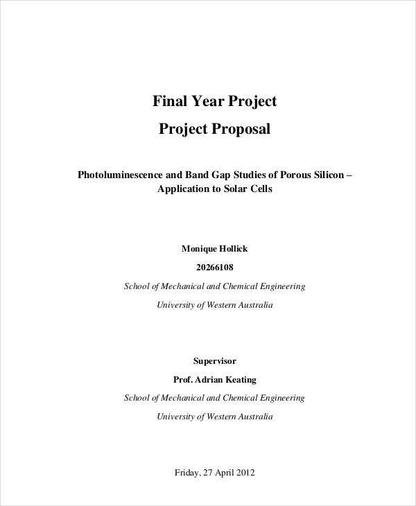 standard final year project proposal