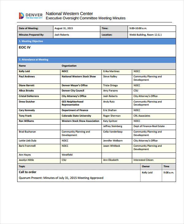 Standard Meeting Minutes