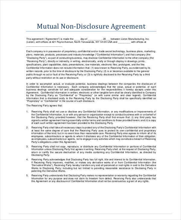 standard mutual non disclosure agreement