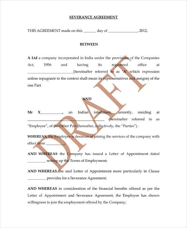 7 Sample Severance Agreement Templates Pdf Free Premium Templates