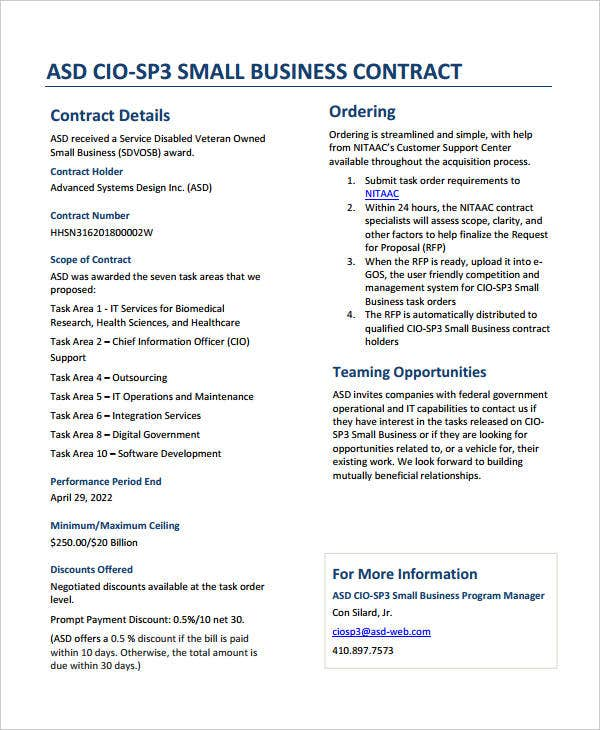 standard small business contract