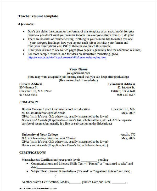 standard teacher resume template