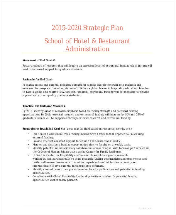 strategic plan school of hotel restaurant administration