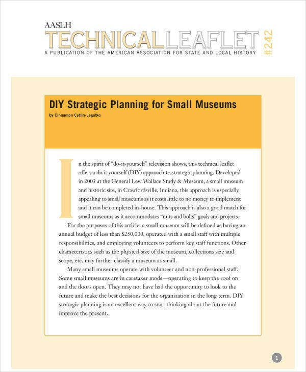 Strategic Planning Template for Small Museums