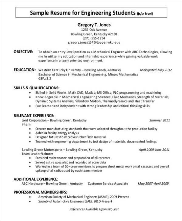 Student Internship CV