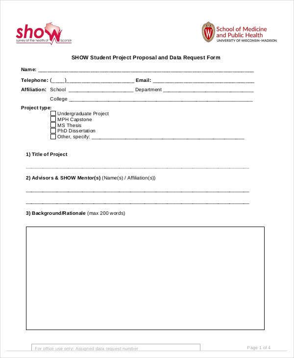 student project proposal and data request form