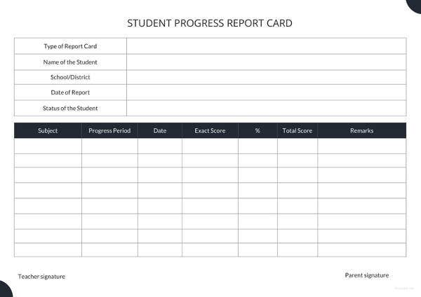 student report card template