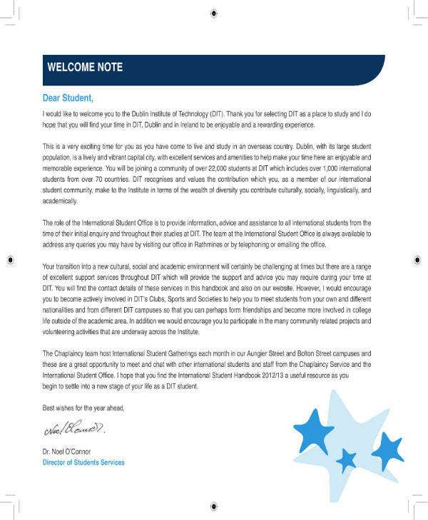 Student Welcome Note Template