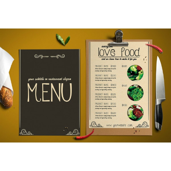 stylish and fancy menu template