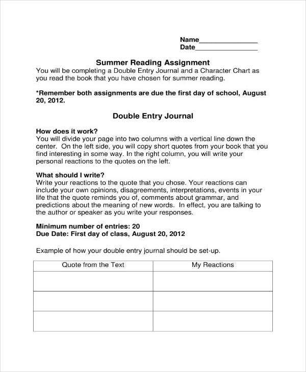 Summer Reading Double Entry Journal Template
