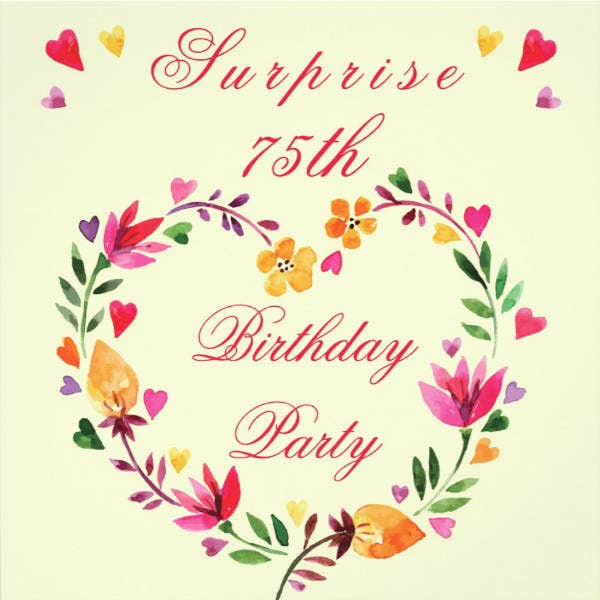 Surprise 75th Birthday Card Design