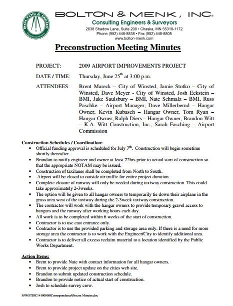 surveyor preconstruction meeting minutes