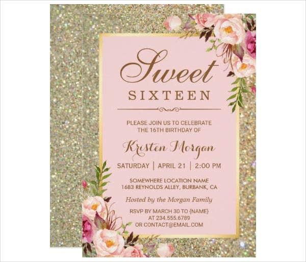 Sweet 16 Birthday Floral Invitation