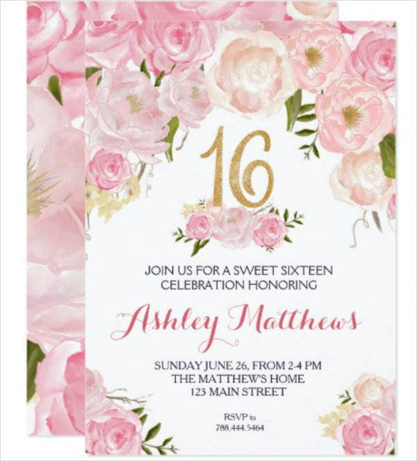 Sweet Sixteen Birthday Floral Invitation