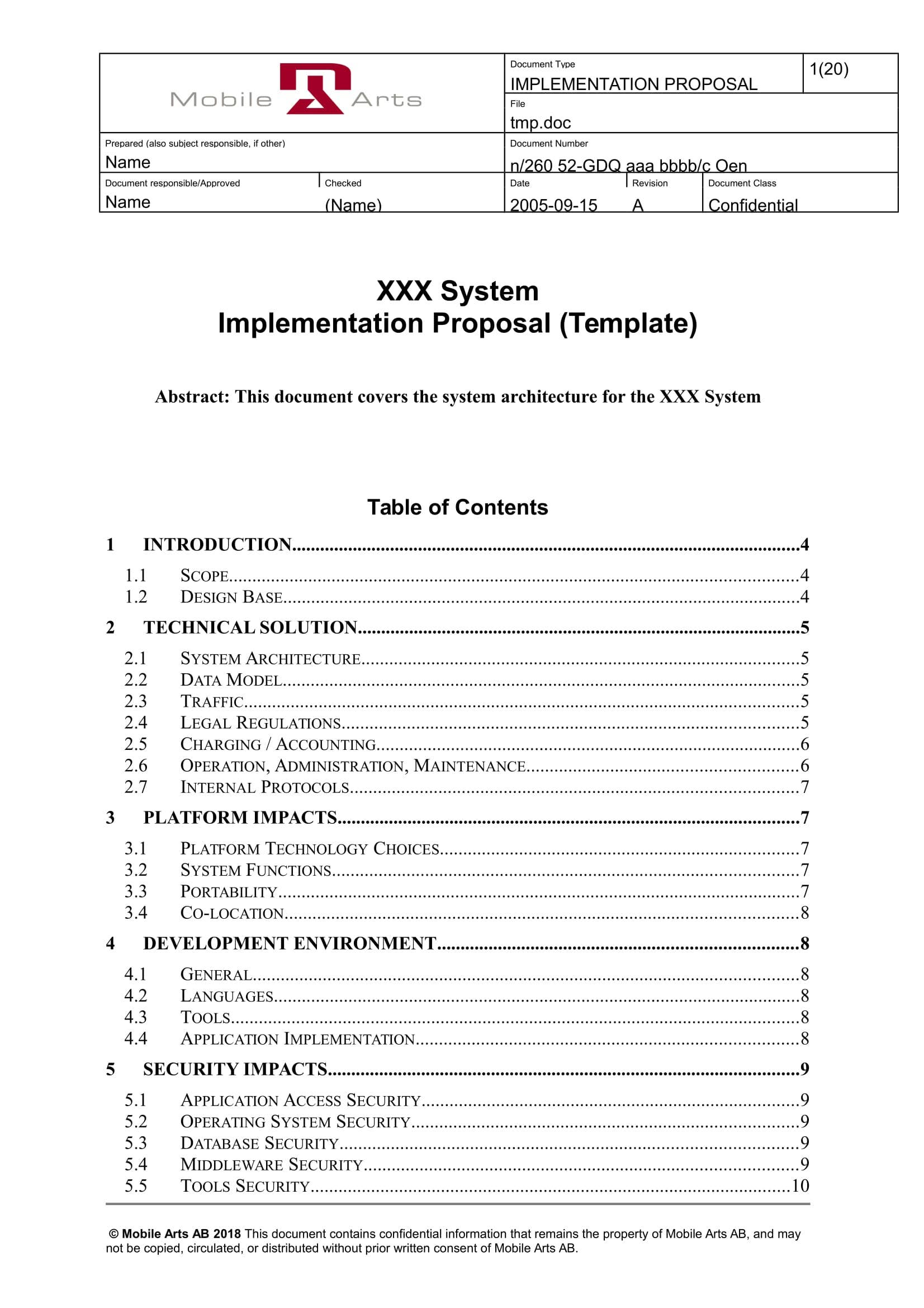 system implementation proposal template