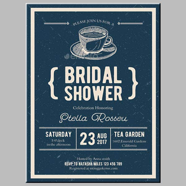 Tea Party Bridal Shower Card Template
