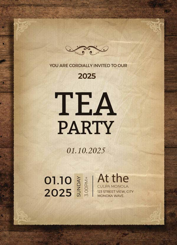 tea party invitation card template1
