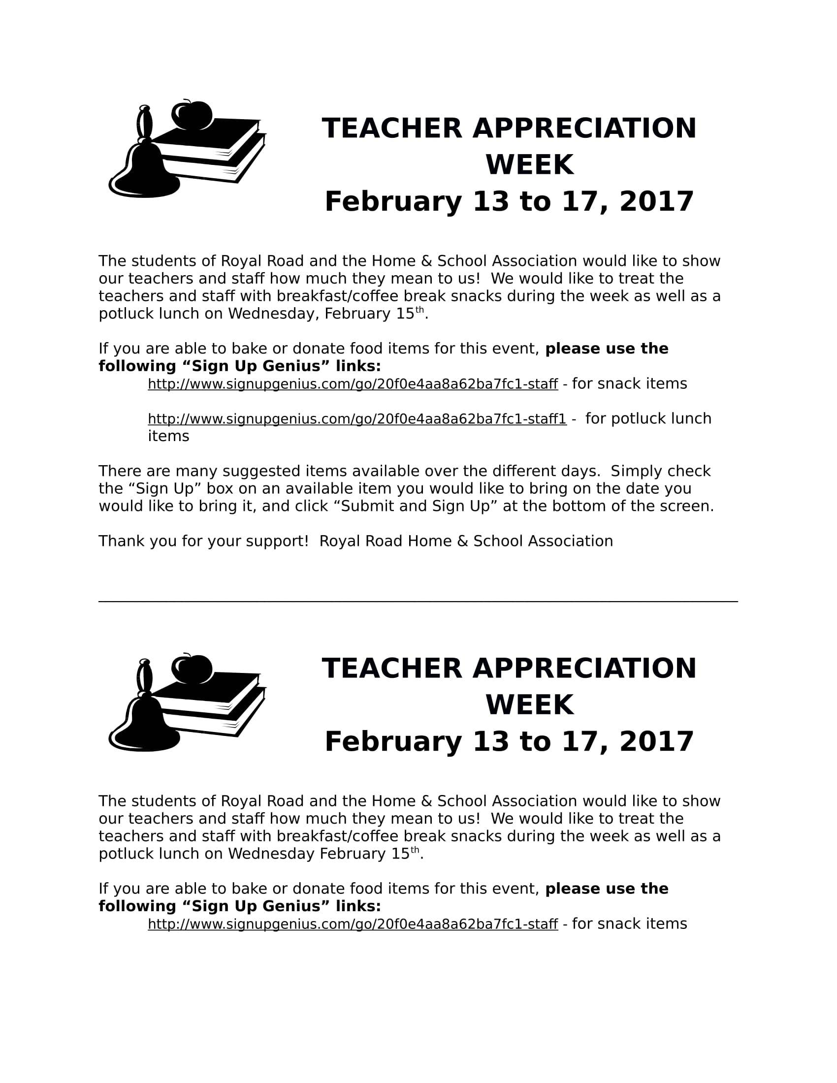 teacher appreciation week home letter