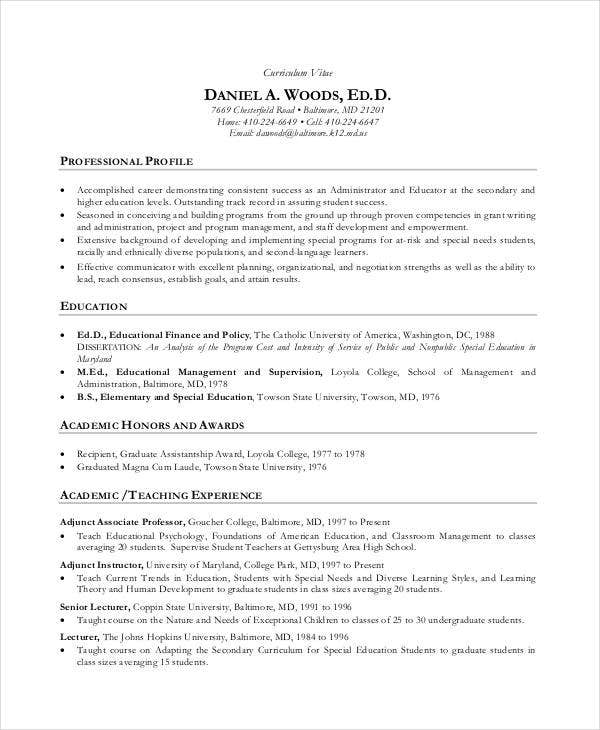 Teacher CV Sample