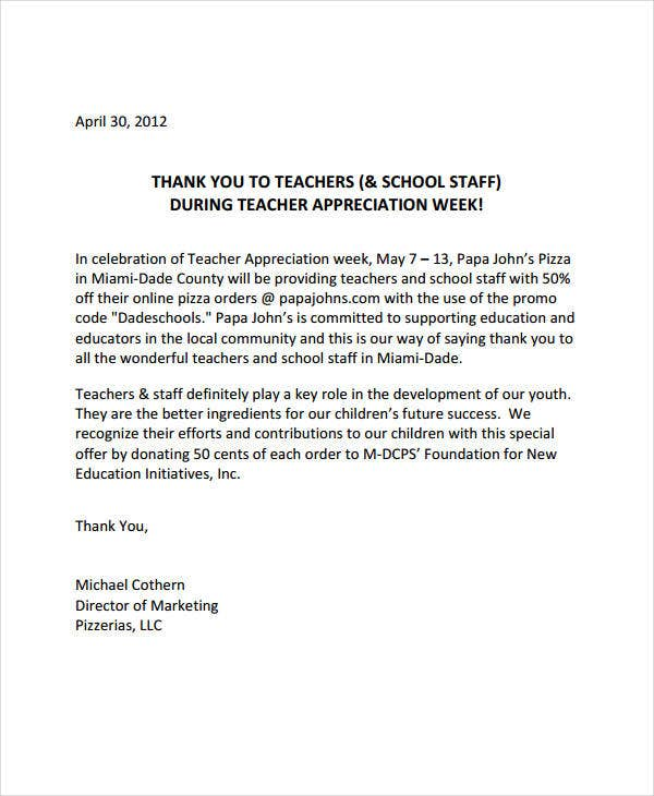 teacher thank you appreciation letter