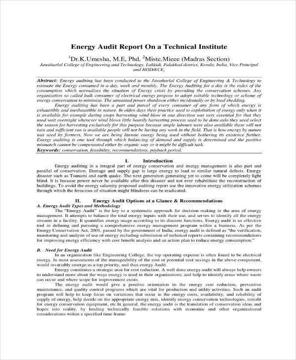 technical issue energy audit report