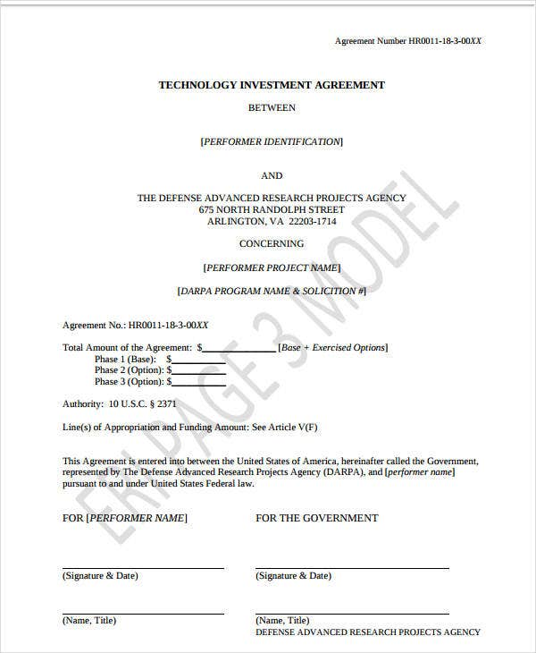 technology investment agreement