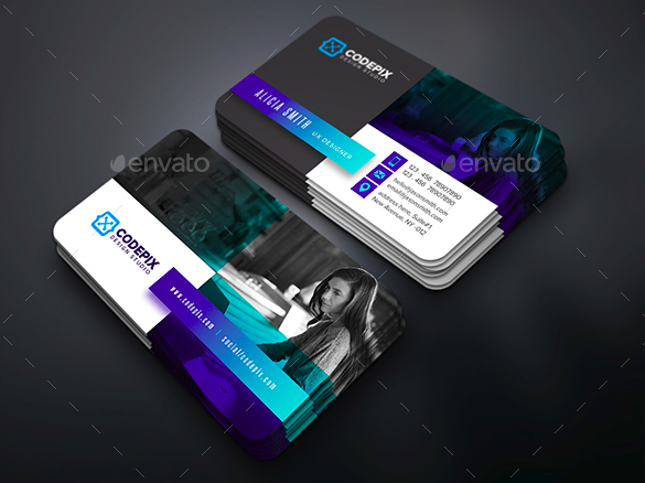 template for modern multicolored business card