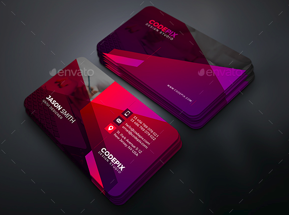 template for multicolored business card