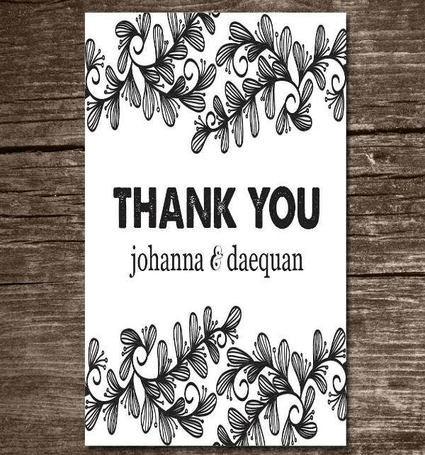 Template for Simple Wedding Thank You Card