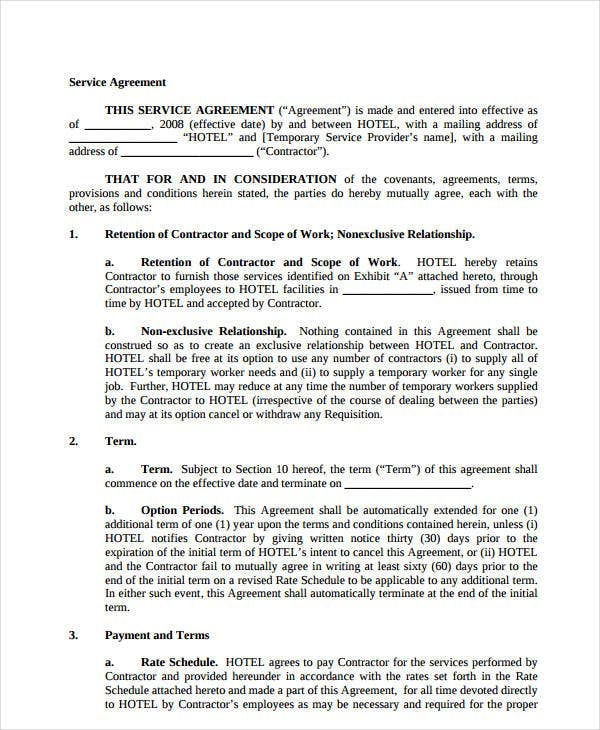 temporary services agreement