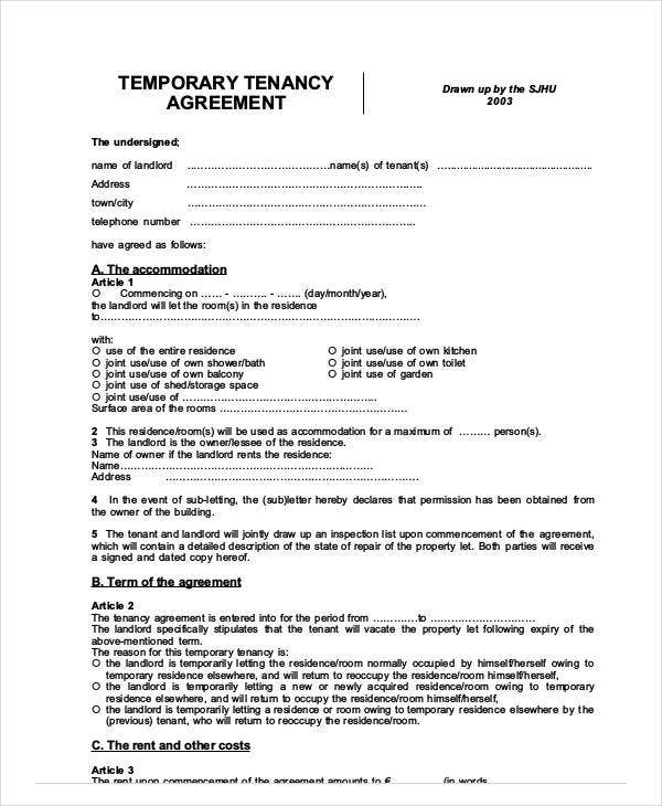 temporary tenancy agreement