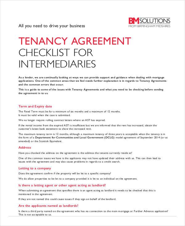 tenancy agreement checklist