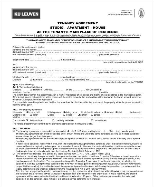 tenancy agreement example
