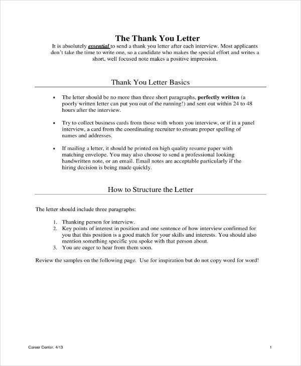 thank you letter to interviewer