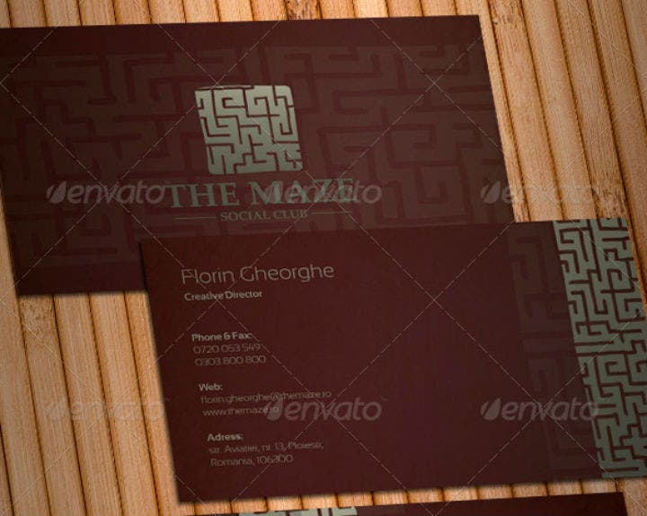 the maze social club business card template set