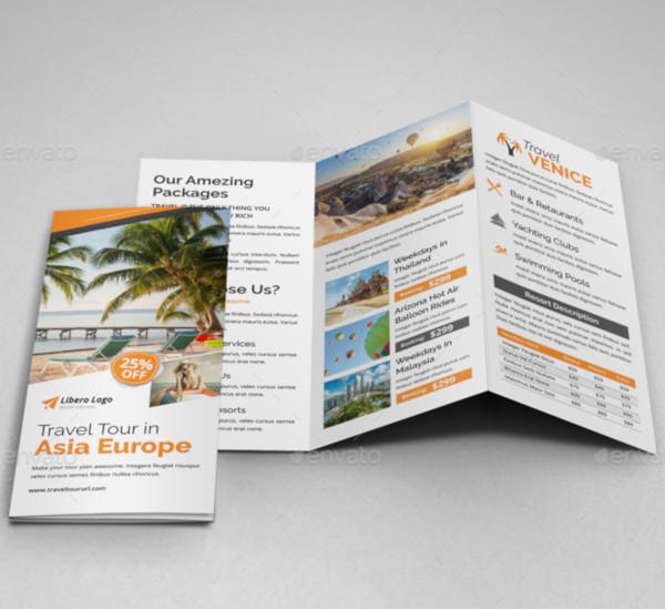 travel resort trifold brochure