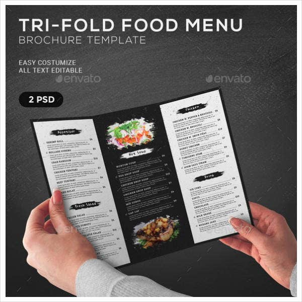 Tri-Fold Food Menu Brochure Template