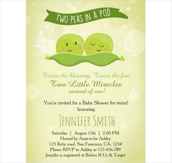 Twin Baby Shower Invitation Example