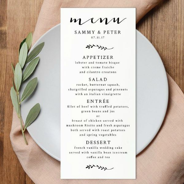 Typographic Simple Wedding Menu Template