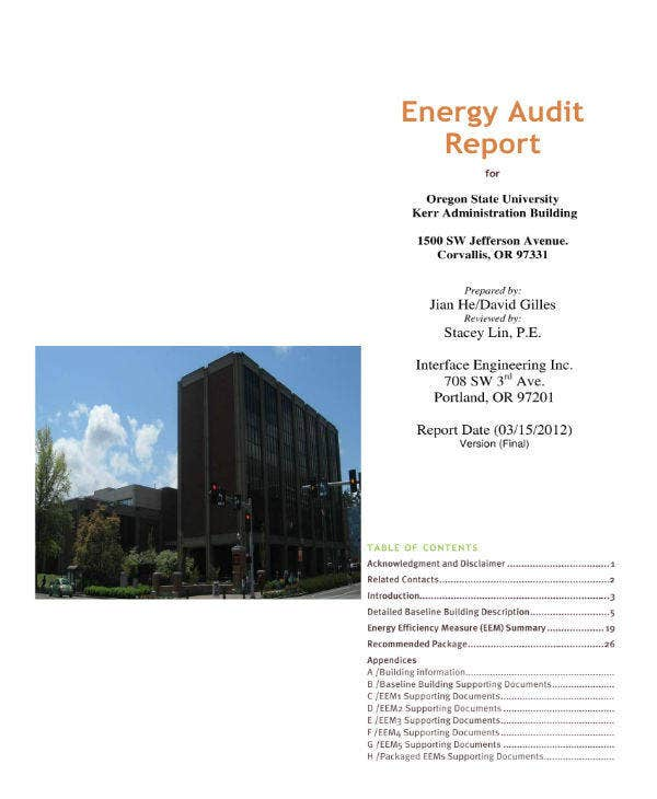 university energy audit report